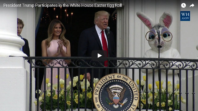 The President Trump and First Lady Melania Trump at the 2017 White House Easter Egg Roll